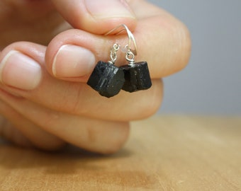 Black Tourmaline Earrings . Healing Stone Earrings for Protection NEW