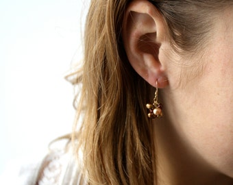 Gold Pearl Earrings . June Birthday Gift