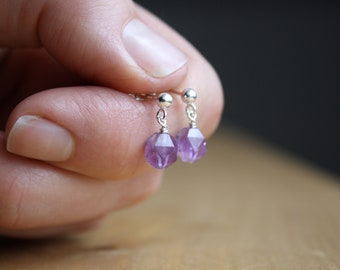 Faceted Amethyst Earrings in Sterling Silver for Protection and Motivation