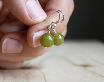 Olive Jade Earrings for Success and Good Luck NEW