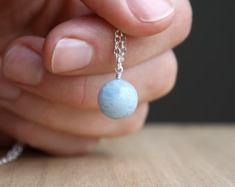 Aquamarine Crystal Sphere Necklace for Courage and Strength