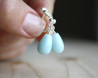 Amazonite Earrings for Non Pierced Ears