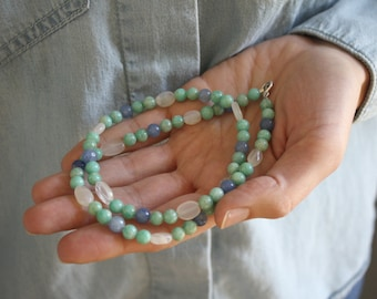 Amazonite, Aventurine, and Moonstone Necklace for Inner Strength and Alleviating Fear