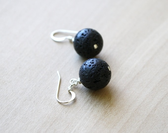 Lava Stone Earrings Dangle . Essential Oil Diffuser Earrings for Grounding, Protection, and Anxiety Relief