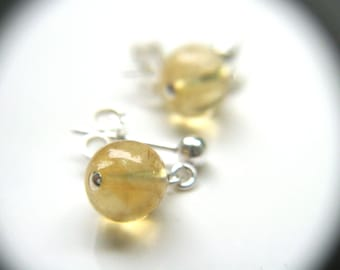 Citrine Earrings Stud . Healing Crystals and Stones for Imagination
