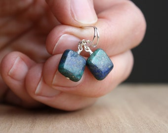 Malachite Azurite Earrings in Sterling Silver for Strength and Cleansing NEW