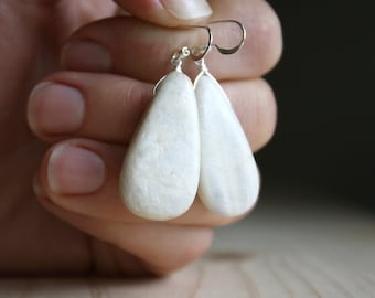 White Moonstone Earrings in Sterling Silver for New Beginnings