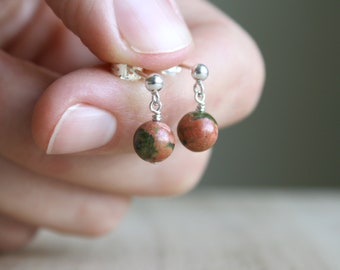 Unakite Studs for Emotional Resilience