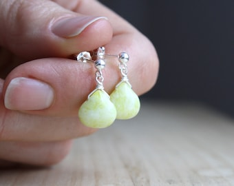 Yellow Jade Stud Earrings for Serenity and Good Luck