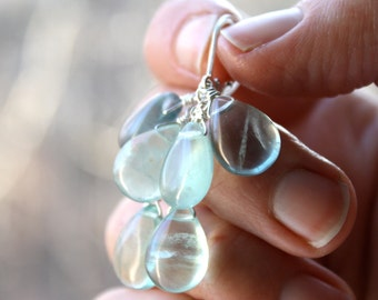 Green Blue Fluorite Earrings
