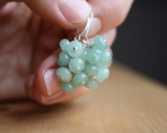 Green Aventurine Earrings . Healing Crystals for Wealth and Strength NEW