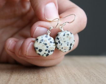Dalmatian Stone Earrings for Grounding and Strength