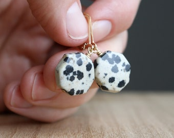 Dalmatian Stone Earrings in 14k Gold Fill for Grounding and Strength