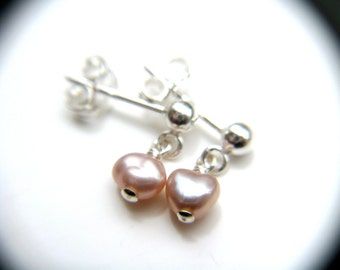 Pink Freshwater Pearl Earring Posts