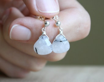 Tourmalinated Quartz Earrings for Balance and Release from Negative Energy NEW