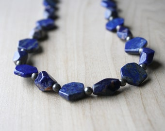 Lapis Lazuli Necklace with Sodalite and Pyrite for Solid Judgement and Protection