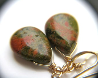 Unakite Earrings for Emotional Resilience