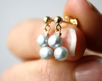 Blue Freshwater Pearl Studs in 14k Gold Fill