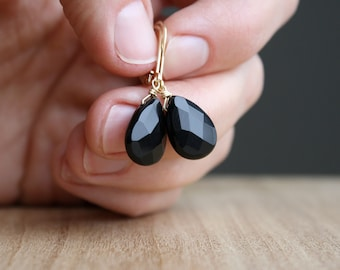Black Onyx Earrings in 14k Gold Fill for Protection and Instilling Courage