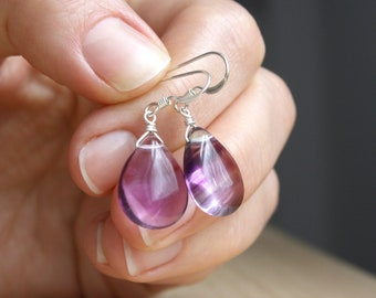 Mindfulness Jewelry . Purple Fluorite Earrings