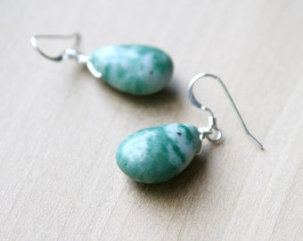 Tree Agate Earrings for Abundance and Stability