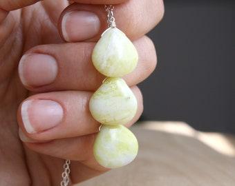 Anti Anxiety Jewelry . Yellow Jade Necklace