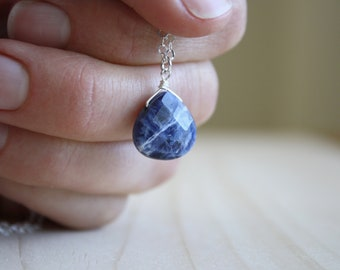 Sodalite Teardrop Necklace for Intuition and Creativity NEW