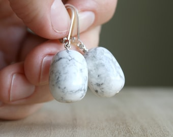 White Howlite Earrings for Anxiety Relief and Creativity