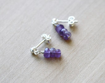 Natural Amethyst Stud Earrings in Sterling Silver for Protection and Motivation