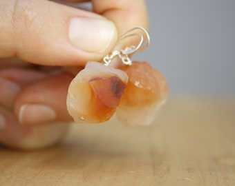 Raw Carnelian Earrings in Sterling Silver