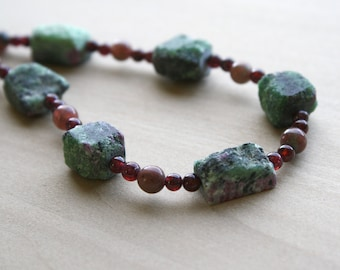 Ruby Zoisite Necklace for Courage and Abundance