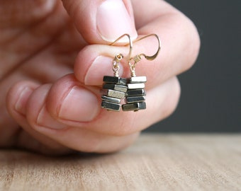 Pyrite Earrings in 14k Gold Fill for Protection and Strength