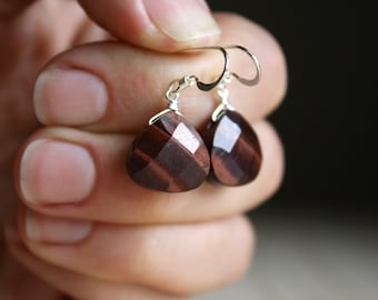 Red Tiger Eye Earrings for Harmony NEW