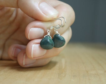 Bloodstone Earrings in Sterling Silver for Courage and Protection NEW