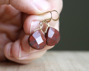 Red Jasper Earrings for Grounding and Strength