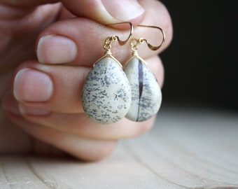Limestone Earrings in 14k Gold Fill for Grounding and Positivity NEW