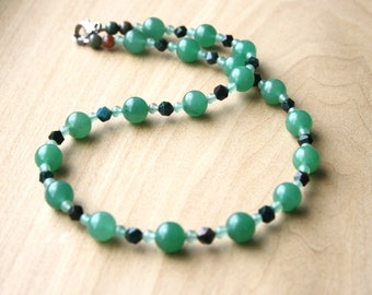 Green Aventurine and Bloodstone Necklace for Opportunity and Protection
