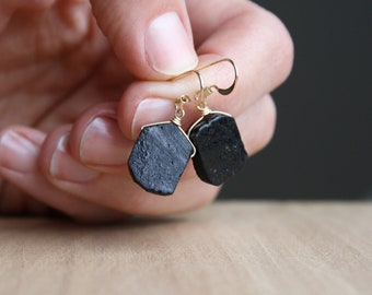 Black Tourmaline Earrings for Protection and Security NEW