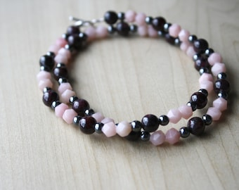 Natural Garnet, Pink Opal, and Hematite Necklace for Hope and Mental Freedom