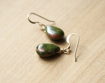 Unakite Earrings for Patience and Emotional Strength