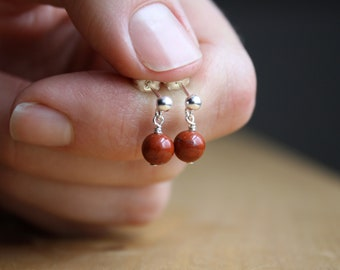 Red Jasper Earrings in Sterling Silver for Grounding and Comfort
