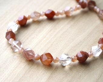 Natural Quartz and Peach Moonstone Necklace for New Beginnings and Good Fortune
