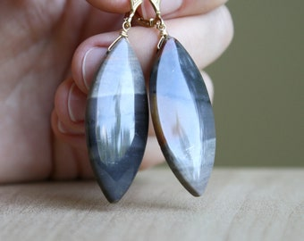 Rainbow Onyx Earrings in 14k Gold Fill for Motivation and Strength