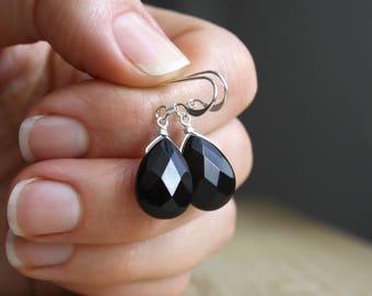 Black Onyx Earrings in Sterling Silver for Self Control and Alleviating Worry