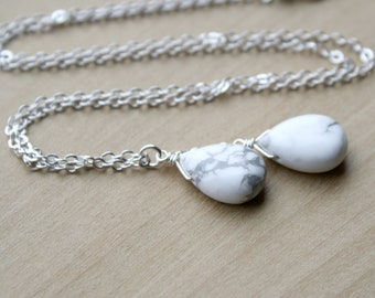 White Howlite Necklace in Sterling Silver for Anxiety Relief and Self Expression