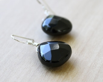 Natural Black Onyx Earrings for Strength and Courage