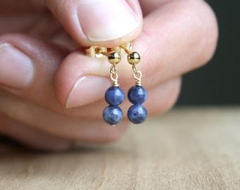 Sodalite Earrings Studs . Dark Blue Earrings Gold . Gold Gemstone Stud Earrings Dangle