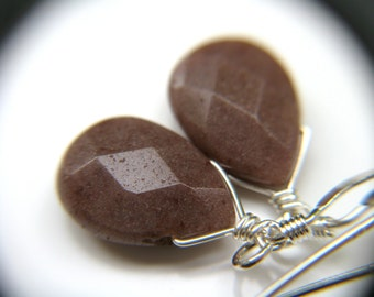 Brown Purple Earrings . Aventurine Earrings . Drop Earrings Purple . Stress Relief Jewelry . Simple Teardrop Earrings . Mauve Earrings Stone