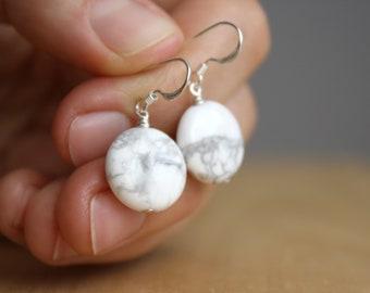 White Howlite Earrings NEW