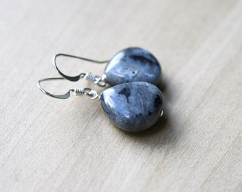 Black Moonstone Earrings in Sterling Silver for Confidence and Creativity